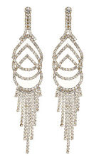 CLIP ON EARRINGS - gold chandelier earring with clear crystals - Cael G