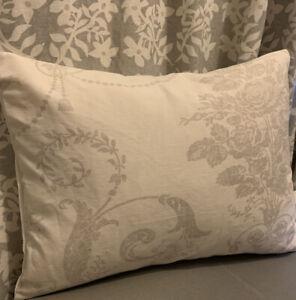 "12x16"" Laura Ashley cushion cover Josette dove grey Off White/ Austen reverse"