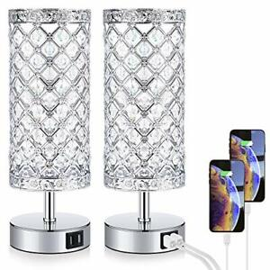 Touch Control Crystal Table Lamp Set of 2 Bedside Nightstand Lampswith 2 USB
