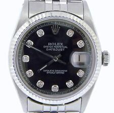 Rolex Datejust Mens Stainless Steel Watch Jubilee w/ Black Diamond Dial 1601