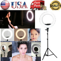 "US 14"" LED Dimmable Photo Video Continuous Ring Light Kit Stand w/Carry Bag"