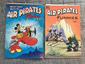 RARE 1971 AIR PIRATES FUNNIES #1,2 DISNEY MICKEY MOUSE BANNED COMICS COMPLETE