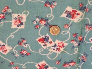 FULL Vintage feedsack: opened,  Ladies Mailing Letters on Turquoise