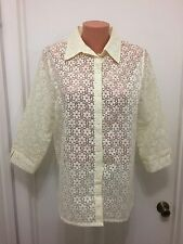 Alfred Dunner Off White Button Down Collar Blouse Floral Sheer 12    3/4 Sleeves