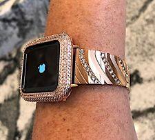 2 pc set 38mm Rose  Gold Lab Diamond Apple Watch Bezel and Crystal watch band