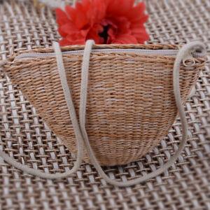 Women Handmade Natural Straw Woven Bag Handbag Summer Beach Tote Shoulder Bag Is