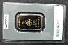 10g Heraeus Goldbarren im Blister, Zertifikat, Feingold 999,9