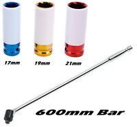 """600mm Breaker Bar 1/2"""" Drive Alloy Wheel Sockets  17mm, 19mm & 21mm Wheel Nuts"""