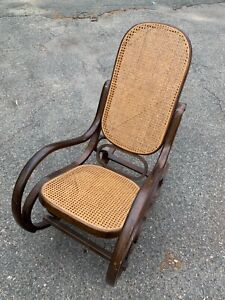 Vintage Thonet Style Rattan Bentwood Wicker Rocking Chair