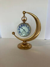 Antique American Waltham glass ball paperweight desk Watch Enamel Dial. w/stand
