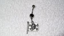 Pirate Flag Skull Bones Design Charm Belly Navel Ring Body Jewelry Piercing