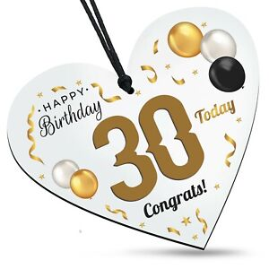 30th Birthday Congrats Wooden White Heart Balloons Plaque Family Friends Gift