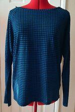 Michael Kors Petite Blue Black Herringbone LS Zipper Shoulders Knit Top -Size PL