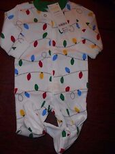 Gymboree NWT Baby Unisex 0-3 Holiday Lights footed pajamas