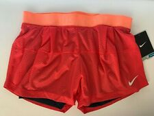 NEW! NIKE [S] Women DRI-FIT DOUBLE-UP Shorts-Red/Orange 484947-676