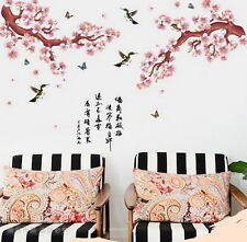 Pink Plum Blooming Bird Butterfly Wall Stickers Removable Nursery Decals Decor