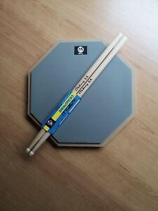 "12"" Drum practice pad with Maple sticks (grey)"