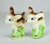 Vintage Cute Deer In Grass Salt and Pepper Shakers