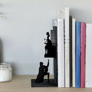 Bookends Iron Bookcase Home Shelf Book Ends Magazines Books Decoration