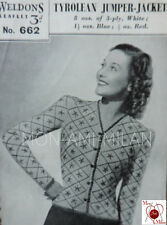 Vintage Weldons Knitting Pattern 30s-40s Wartime Lady's TYROLEAN Cardigan