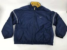 Vintage Nike Jacket Coat Mens 2Xl Spell Out Quilt Lined Full Zip Blue Xxl