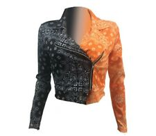 Women Bandanna Print Patchwork Zipper UP Long Sleeve Moto Bike Streetwear Jacket