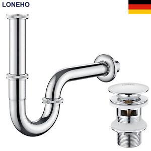 Sifon Siphon Pop Up Ablaufventil Ablaufgarnitur mit Überlauf Waschbecken Abfluss