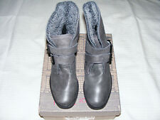 Red  Or  Dead  Ladies  Size 3  Grey Leather Warm  Lined Ankle Boots New & Boxed