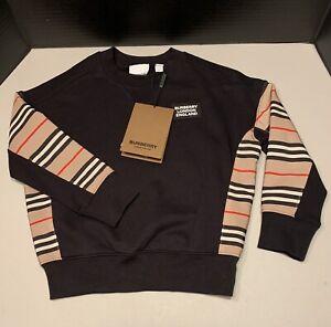 Burberry Hamilton Stripe Check Logo Pullover Sweatshirt in Black Kids Size 6Y