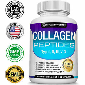 Premium Collagen Peptides 90 CAPSULES Hydrolyzed Anti-Aging (Types I,II,III,V,X)