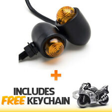 2pcs Black Motorcycle Turn Signals Bulb Indicators Blinkers+Sportbike Keychain