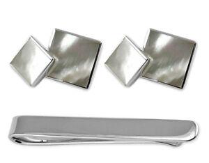 Sterling Silber Perlmutt Doppelseitig Manschettenknöpfe Krawatte Clip Kiste Set