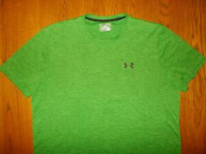 UNDER ARMOUR HEAT GEAR SHORT SLEEVE HEATHER GREEN T-SHIRT MENS XL EXCELLENT COND