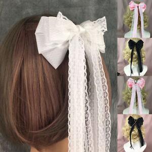 Women Hairpin Pearl Lace Bowknot Lolita Cosplay Hair Ornament Hair Clips cecdef