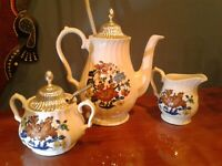 Myott Kismet Coffee Tea Pot, Sugar Bowl, Creamer, England Floral Set