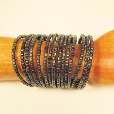 "2 1/4"" Wide Peacock Multi Strand Beaded Bangle Handmade Cuff Bracelet"