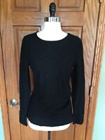 Talbots Lace Long Sleeve Shirt Sz M Side Ruched Black Blouse Top