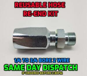 BSP Male Hydraulic Reusable Hose Fitting/Insert Re-End Set R2T - 2SN - 2 Wire
