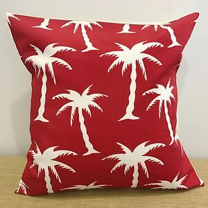 """16""""/18"""" Palm Trees on Red Canvas/Cotton Cushion Pillow Cover. Handmade Australia"""