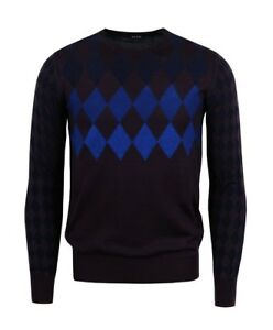 PS by Paul Smith Argyle Diamond Design Fitted Jumper - Burgundy Blue - S L