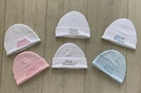 Baby Hat Beanie Embroidered Cotton one size Pink Blue White Prince Princess gift