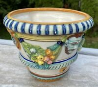 Vintage Della Robbia Planter Italy Fruit Face Swag Relief marked on bottom