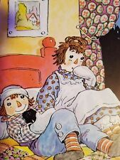 RAGGEDY ANN AND ANDY (On a Quilted Bedspread) 1951 Johnny Gruelle Color Print