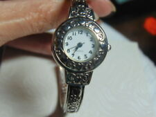 VINTAGE BEAUTIFUL Silver Embossed HEARTS & SCROLL Cuff Watch.....by Avon #198