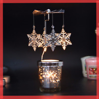 Rotary Spinning Candlestick Tealight Candle Holder CAROUSEL Metal Tabletop Decor
