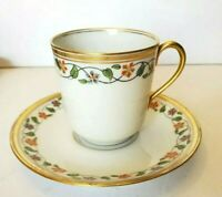 ANTIQUE LIMOGES FRANCE BAWO & DOTTER GOLD TRIM FLORAL DEMITASSE CUP & SAUCER