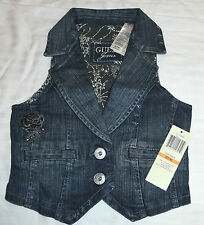 NEW GUESS 7-8 YEARS DENIM VEST JACKET GIRLS STYLISH SLEEVELESS CROP AUTHENTIC