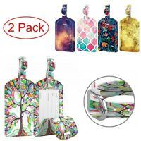 [2 Pack] Luggage Tags Leather Name Address ID Labels for Travel Bag Suitcase