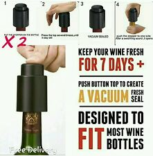 X2 New Vacuum Sealed Wine Champagne Bottle Stopper Pump Saver Plug Bar Tool Cap