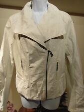 Guess Women's White Faux Leather Jacket Size XL NWT(Factory Defects)